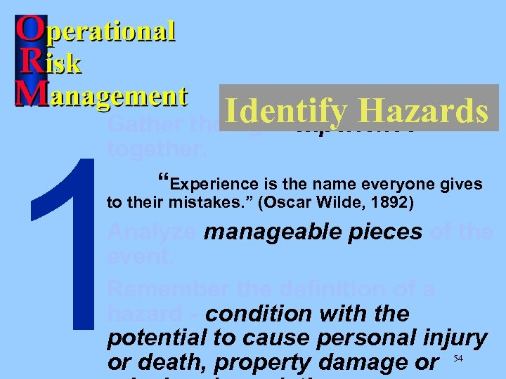"Identify Hazards Gather the right experience 1 together. ""Experience is the name everyone gives"