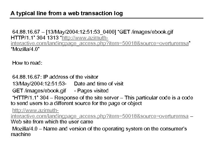 A typical line from a web transaction log 64. 88. 16. 67 – [13/May/2004: