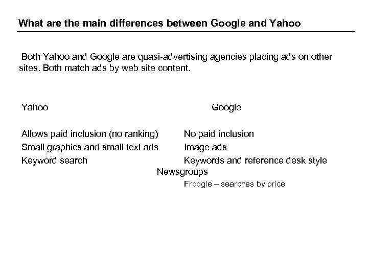 What are the main differences between Google and Yahoo Both Yahoo and Google are