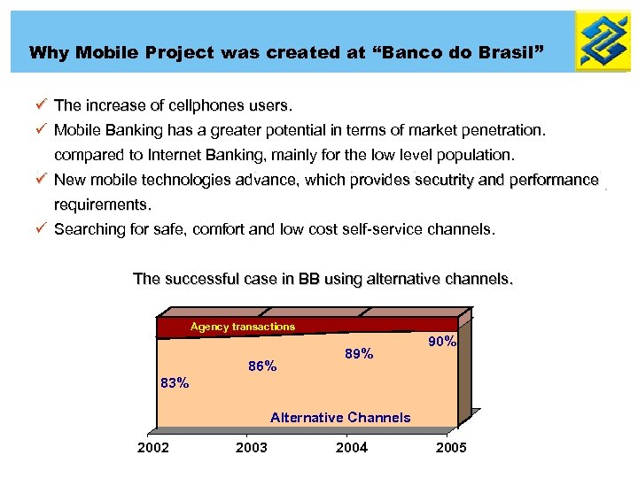 """Why Mobile Project was created at """"Banco do Brasil"""" ü The increase of cellphones"""