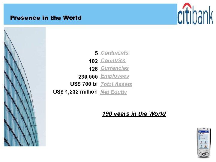 Presence in the World 5 102 128 230, 000 US$ 700 bi US$ 1,