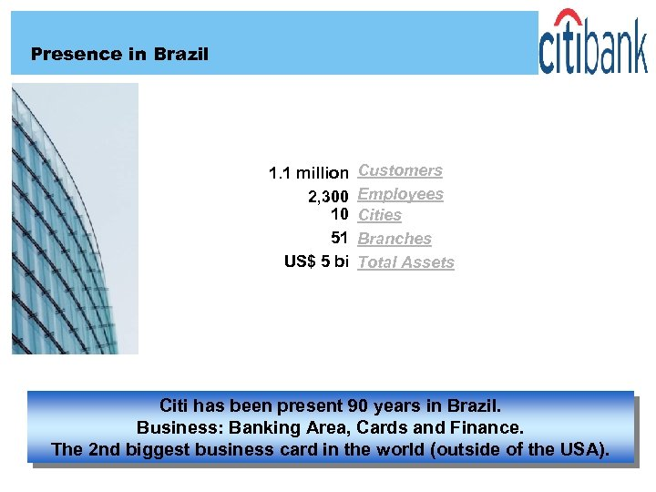 Presence in Brazil 1. 1 million 2, 300 10 51 US$ 5 bi Customers