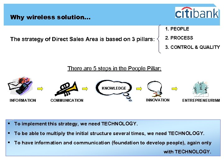 Why wireless solution… 1. PEOPLE The strategy of Direct Sales Area is based on