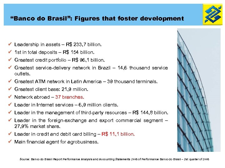 """Banco do Brasil"": Figures that foster development ü Leadership in assets – R$ 233,"
