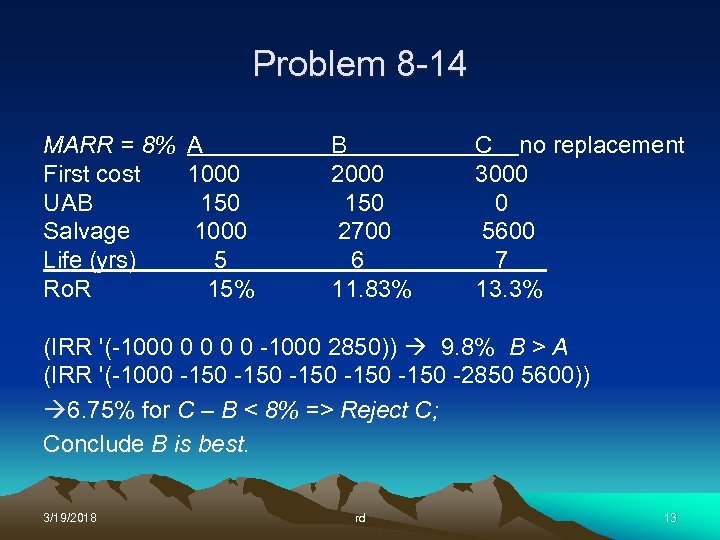 Problem 8 -14 MARR = 8% A First cost 1000 UAB 150 Salvage 1000