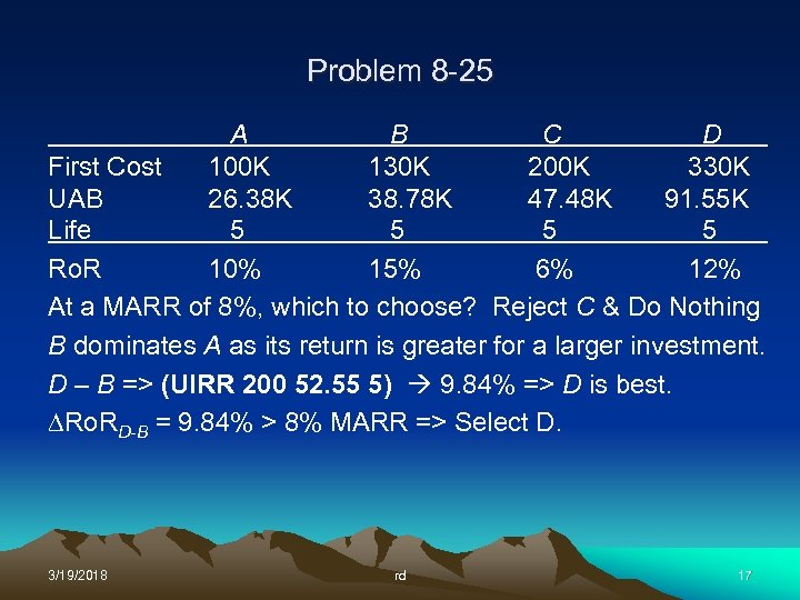 Problem 8 -25 A B C D First Cost 100 K 130 K 200