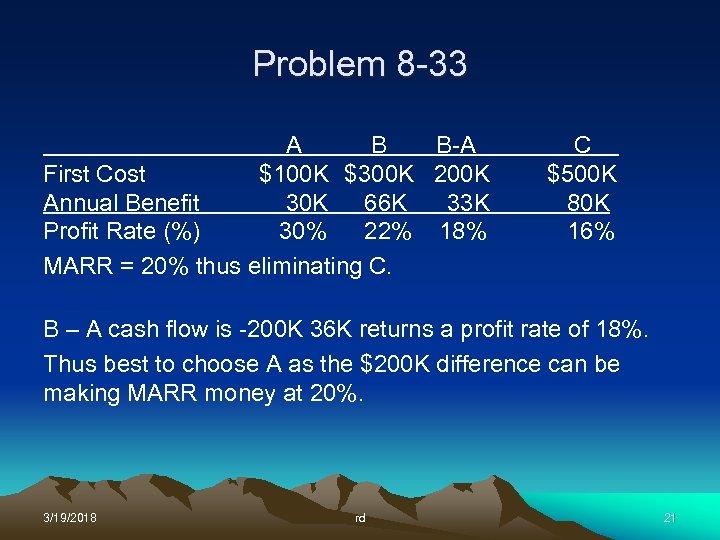 Problem 8 -33 A B B-A First Cost $100 K $300 K 200 K