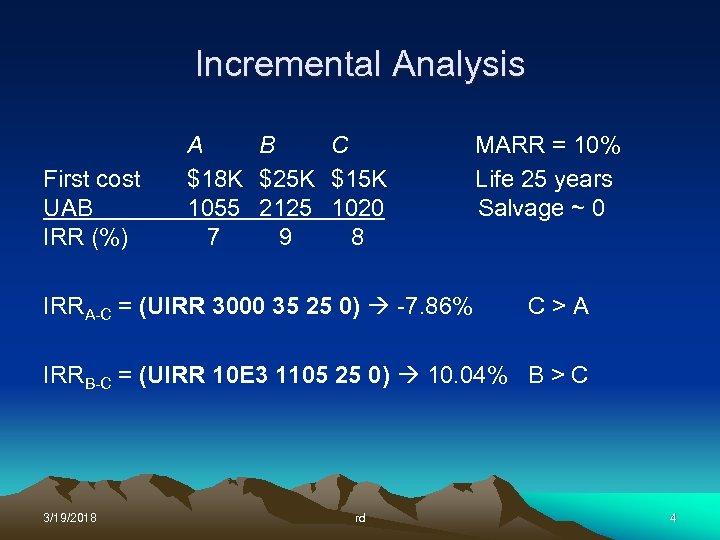 Incremental Analysis First cost UAB IRR (%) A B C $18 K $25 K