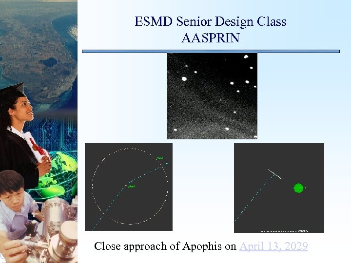 ESMD Senior Design Class AASPRIN Close approach of Apophis on April 13, 2029