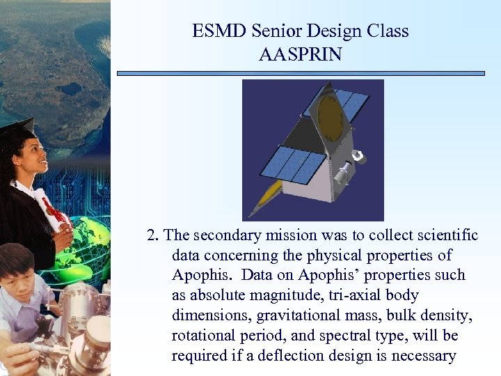 ESMD Senior Design Class AASPRIN 2. The secondary mission was to collect scientific data