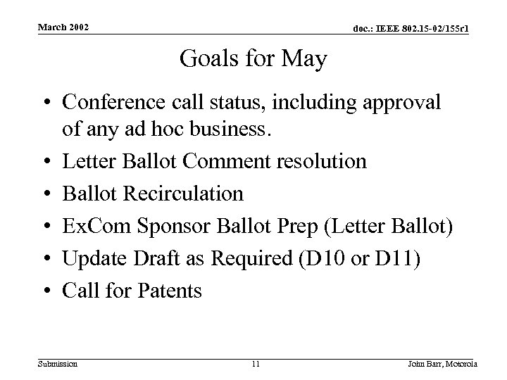 March 2002 doc. : IEEE 802. 15 -02/155 r 1 Goals for May •