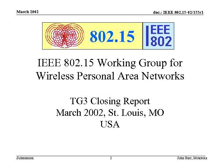 March 2002 doc. : IEEE 802. 15 -02/155 r 1 802. 15 IEEE 802.