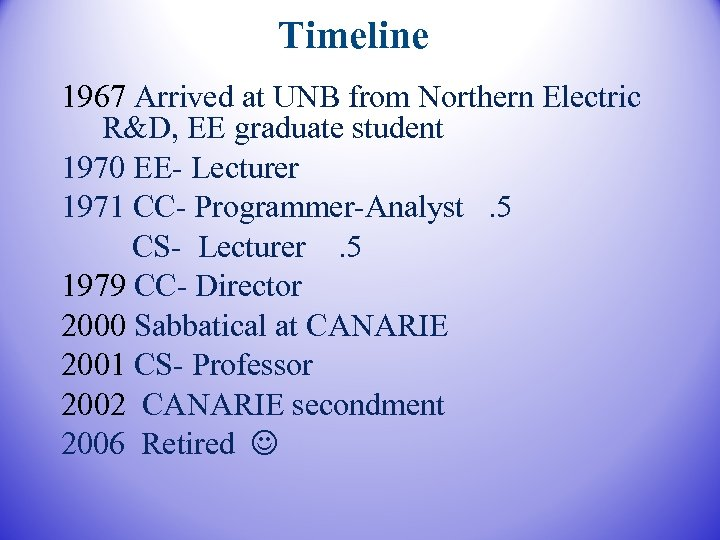Timeline 1967 Arrived at UNB from Northern Electric R&D, EE graduate student 1970 EE-