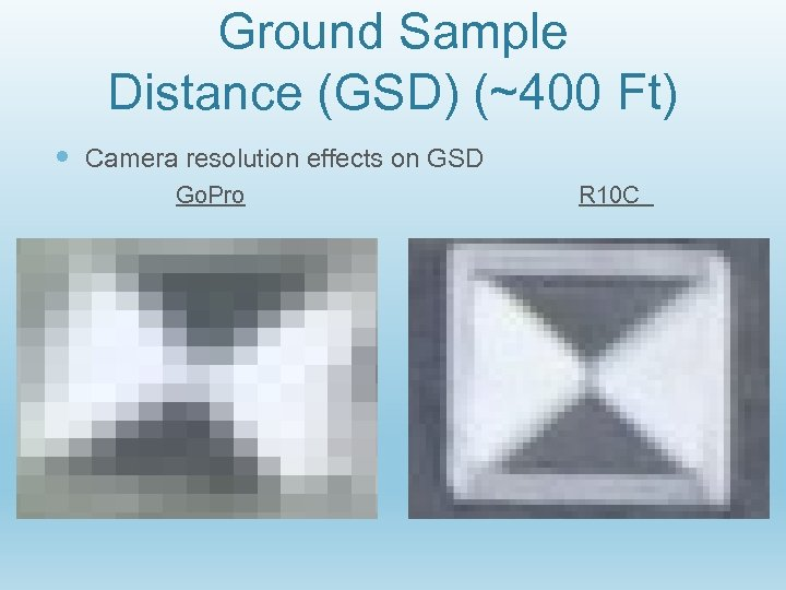 Ground Sample Distance (GSD) (~400 Ft) Camera resolution effects on GSD Go. Pro R