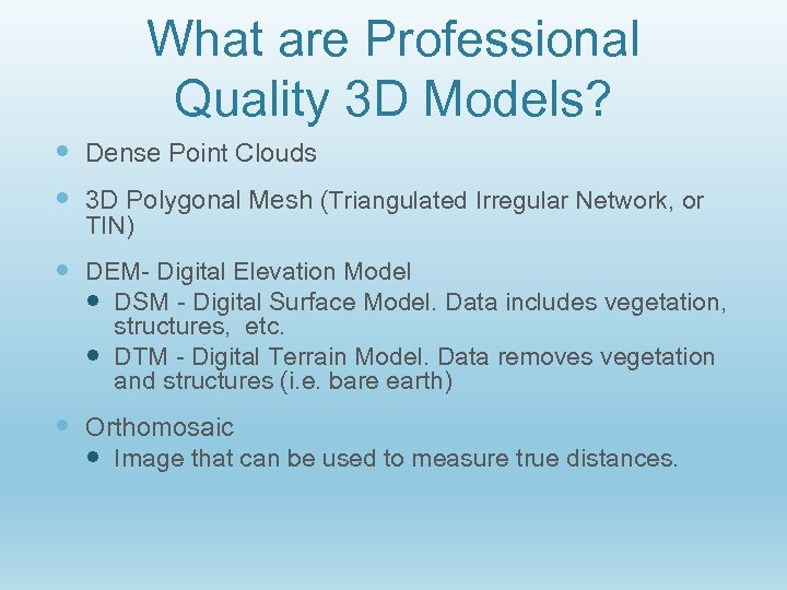 What are Professional Quality 3 D Models? Dense Point Clouds 3 D Polygonal Mesh