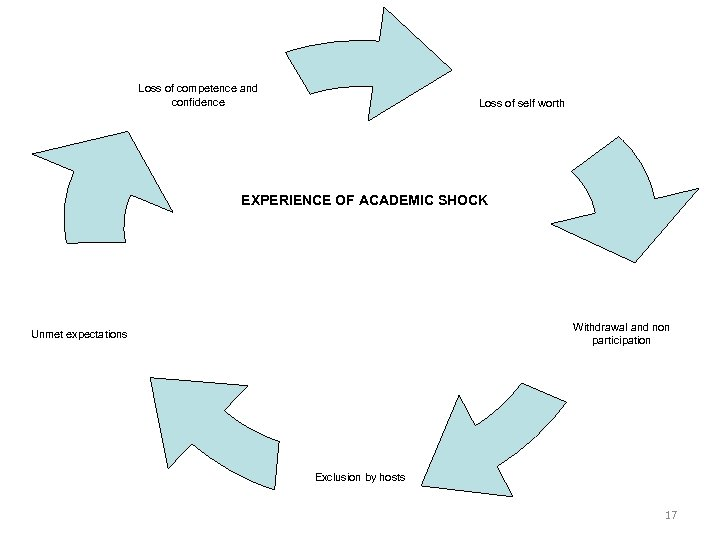 Loss of competence and confidence Loss of self worth EXPERIENCE OF ACADEMIC SHOCK Withdrawal