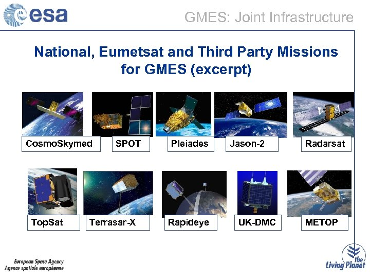 GMES: Joint Infrastructure National, Eumetsat and Third Party Missions for GMES (excerpt) Cosmo. Skymed