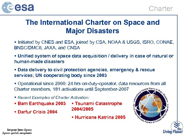 Charter The International Charter on Space and Major Disasters § Initiated by CNES and