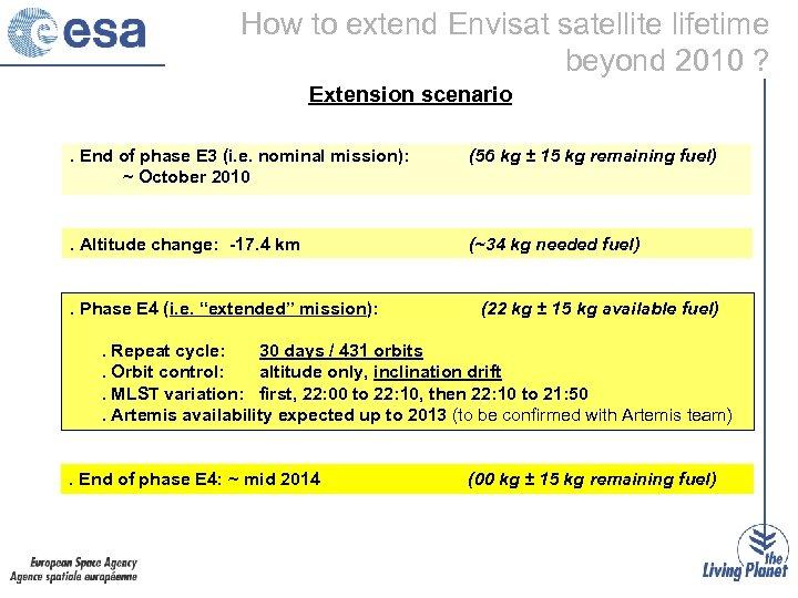 How to extend Envisat satellite lifetime beyond 2010 ? Extension scenario. End of phase