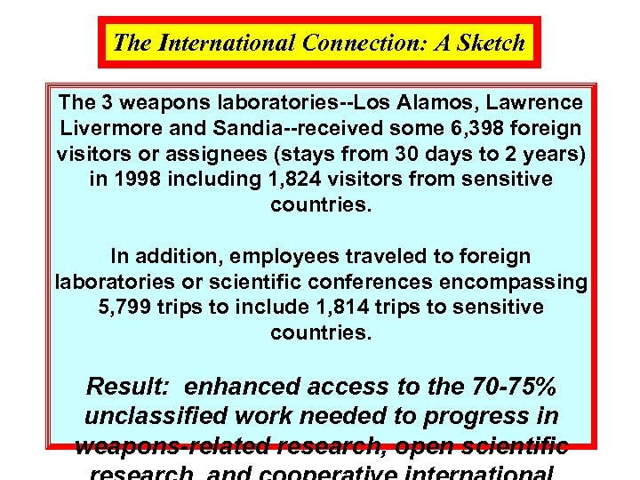 The International Connection: A Sketch The 3 weapons laboratories--Los Alamos, Lawrence Livermore and Sandia--received
