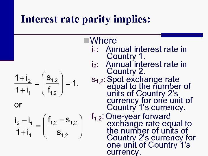 Interest rate parity implies: n. Where i 1: Annual interest rate in Country 1.
