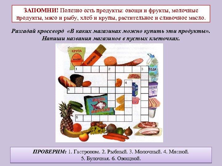 ЗАПОМНИ! Полезно есть продукты: овощи и фрукты, молочные продукты, мясо и рыбу, хлеб и