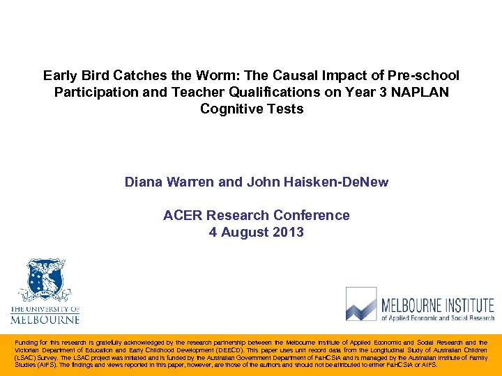 Early Bird Catches the Worm: The Causal Impact of Pre-school Participation and Teacher Qualifications