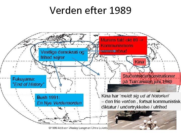 """Verden efter 1989 Vestlige demokrati og frihed sejrer Fukuyama: """"End of History"""" Bush 1991:"""