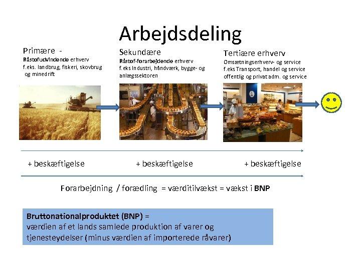 Primære - Råstofudvindende erhverv f. eks. landbrug, fiskeri, skovbrug og minedrift + beskæftigelse Arbejdsdeling
