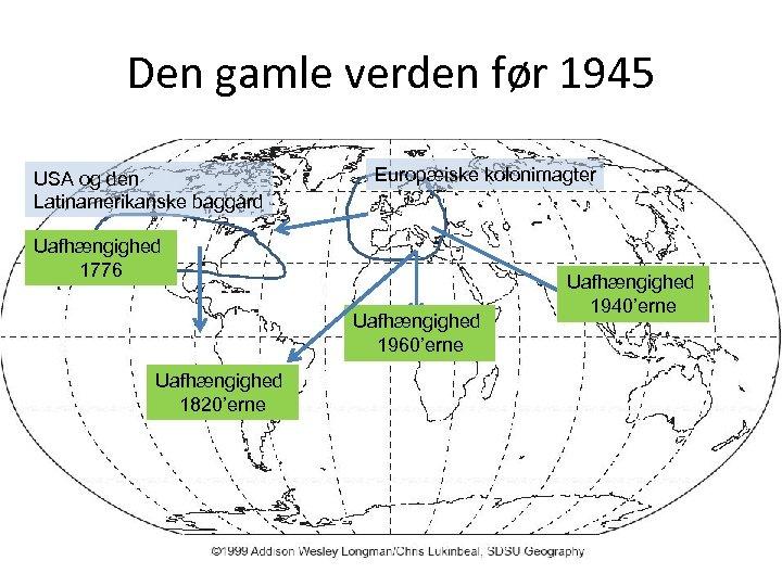 Den gamle verden før 1945 USA og den Latinamerikanske baggård Europæiske kolonimagter Uafhængighed 1776