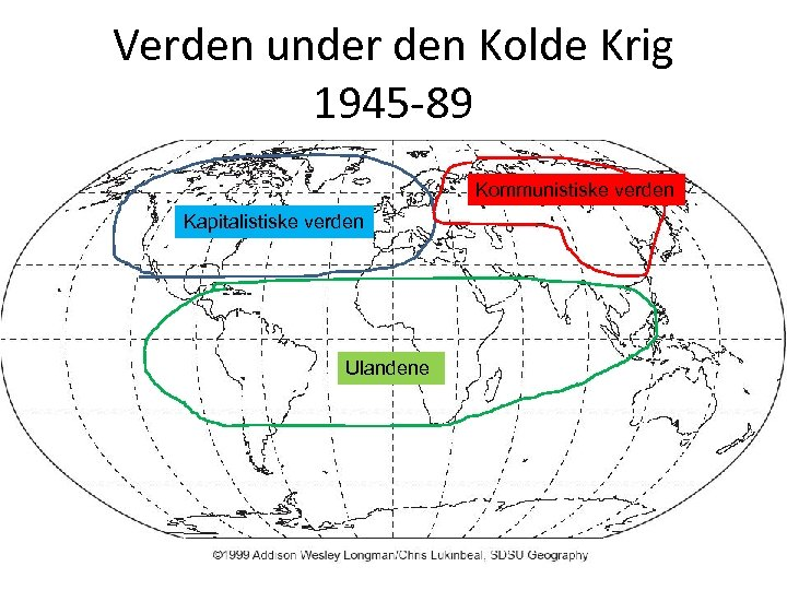 Verden under den Kolde Krig 1945 -89 Kommunistiske verden Kapitalistiske verden Ulandene