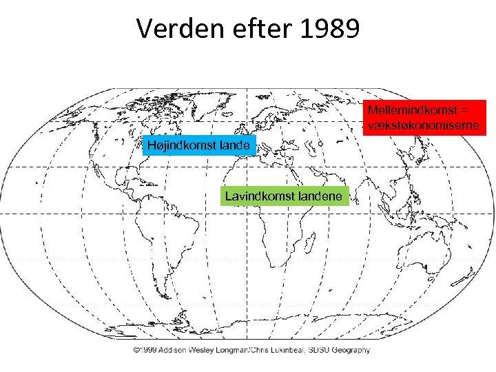 Verden efter 1989 Mellemindkomst = vækstøkonomiserne Højindkomst lande Lavindkomst landene