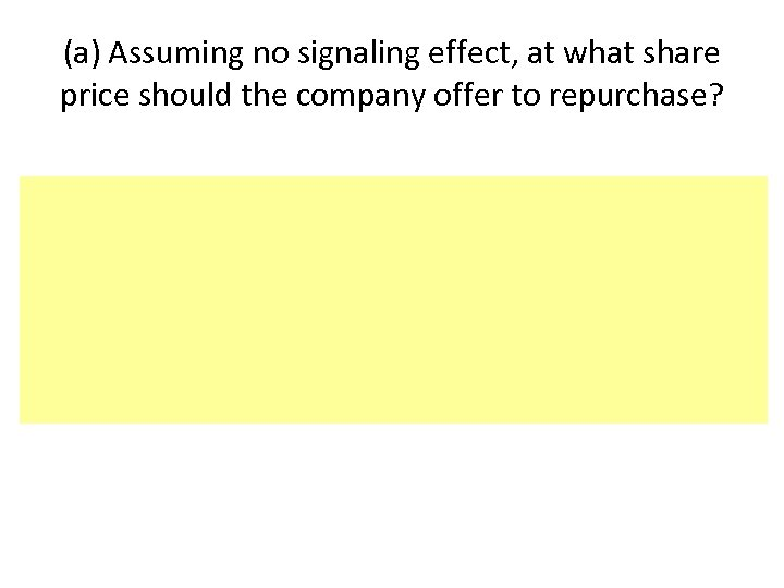 (a) Assuming no signaling effect, at what share price should the company offer to