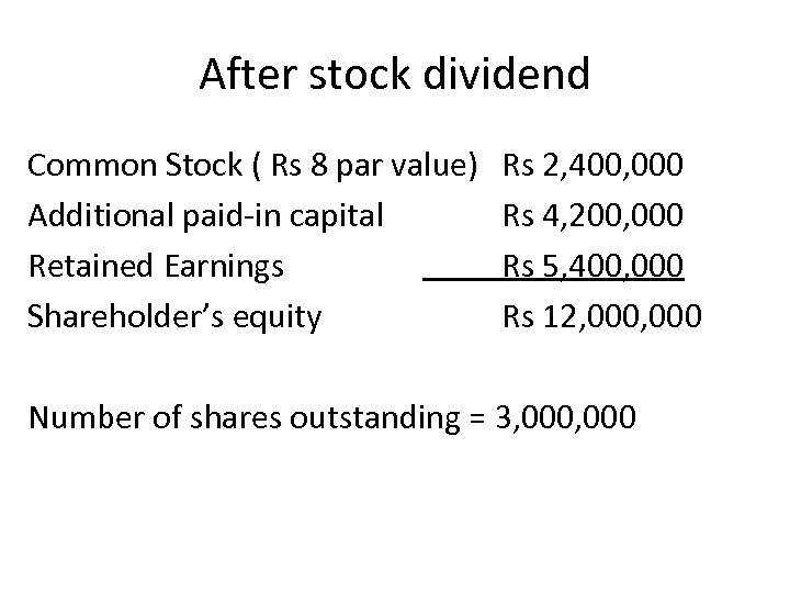 After stock dividend Common Stock ( Rs 8 par value) Additional paid-in capital Retained