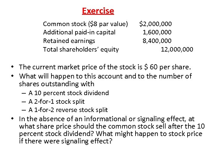 Exercise Common stock ($8 par value) Additional paid-in capital Retained earnings Total shareholders' equity