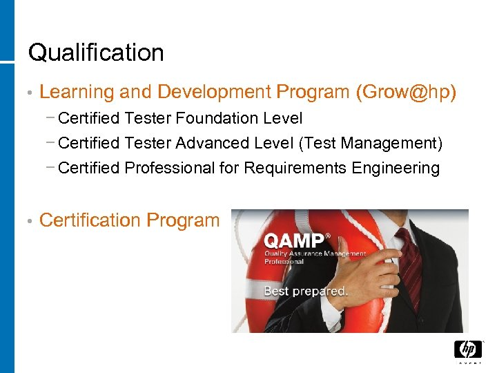 Qualification • Learning and Development Program (Grow@hp) − Certified Tester Foundation Level − Certified