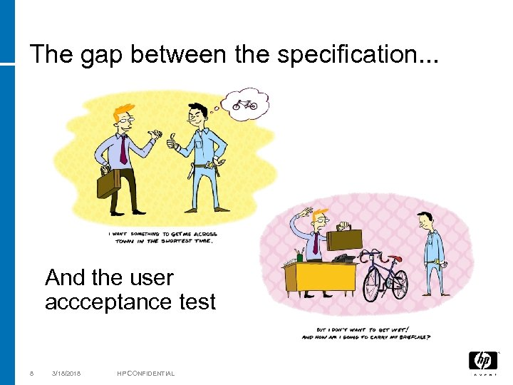 The gap between the specification. . . And the user accceptance test 8 3/18/2018