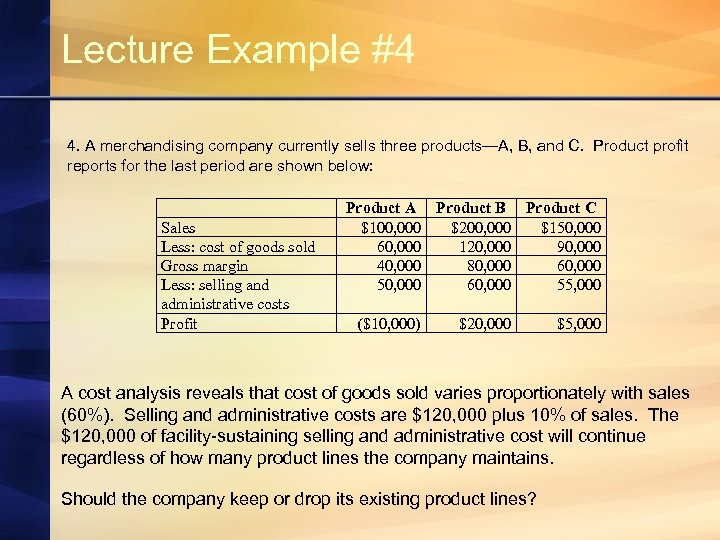 Lecture Example #4 4. A merchandising company currently sells three products—A, B, and C.