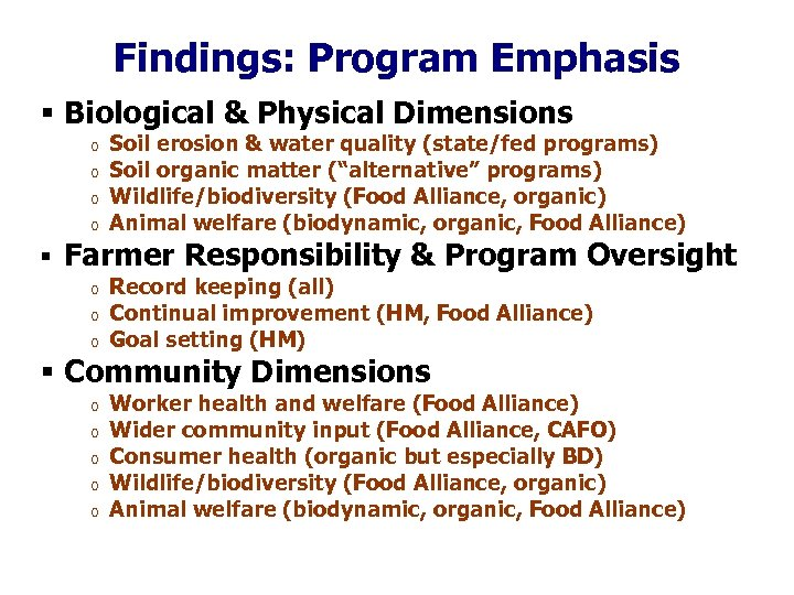 Findings: Program Emphasis § Biological & Physical Dimensions o o Soil erosion & water
