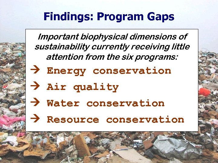 Findings: Program Gaps Important biophysical dimensions of sustainability currently receiving little attention from the