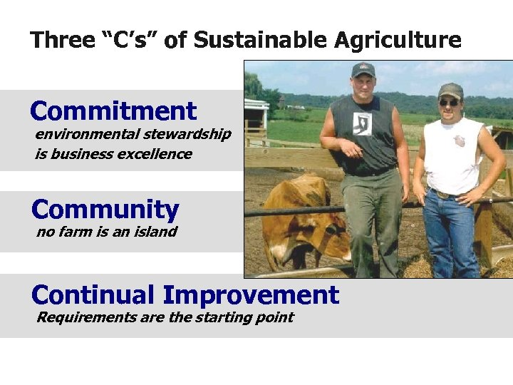 "Three ""C's"" of Sustainable Agriculture Commitment environmental stewardship is business excellence Community no farm"