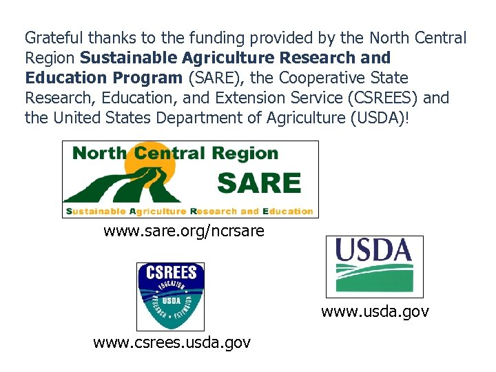 Grateful thanks to the funding provided by the North Central Region Sustainable Agriculture Research