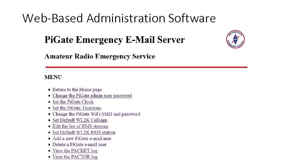 Web-Based Administration Software