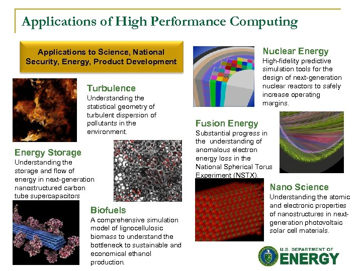 Applications of High Performance Computing Nuclear Energy Applications to Science, National Security, Energy, Product