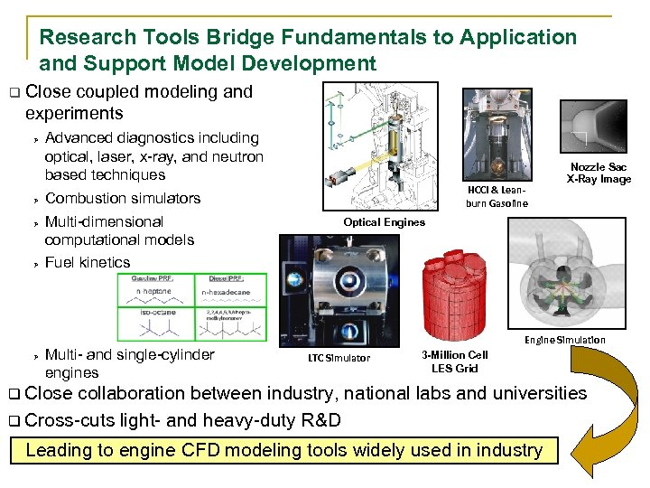 Research Tools Bridge Fundamentals to Application and Support Model Development q Close coupled modeling