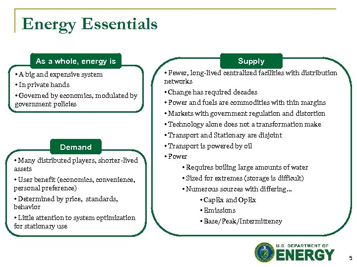 Energy Essentials Supply As a whole, energy is • A big and expensive system
