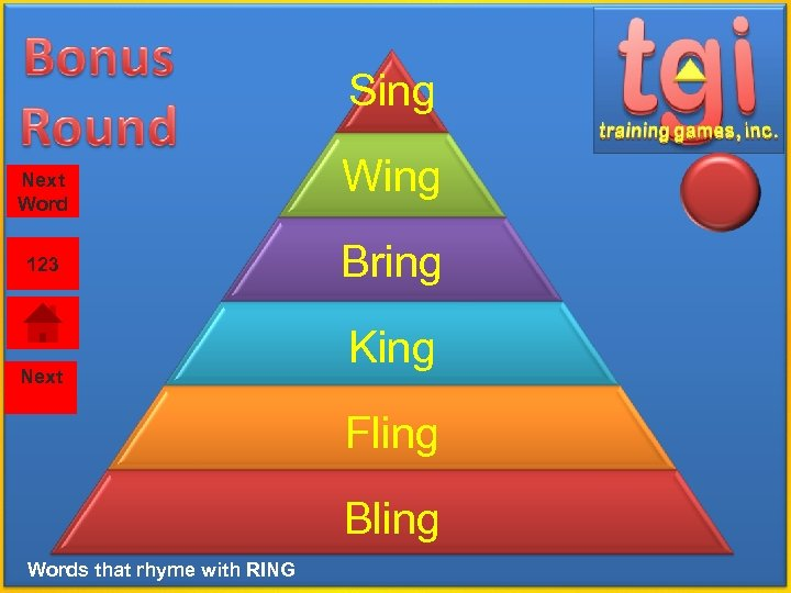 Sing Next Word 123 Next Wing Bring King Fling Bling Words that rhyme with