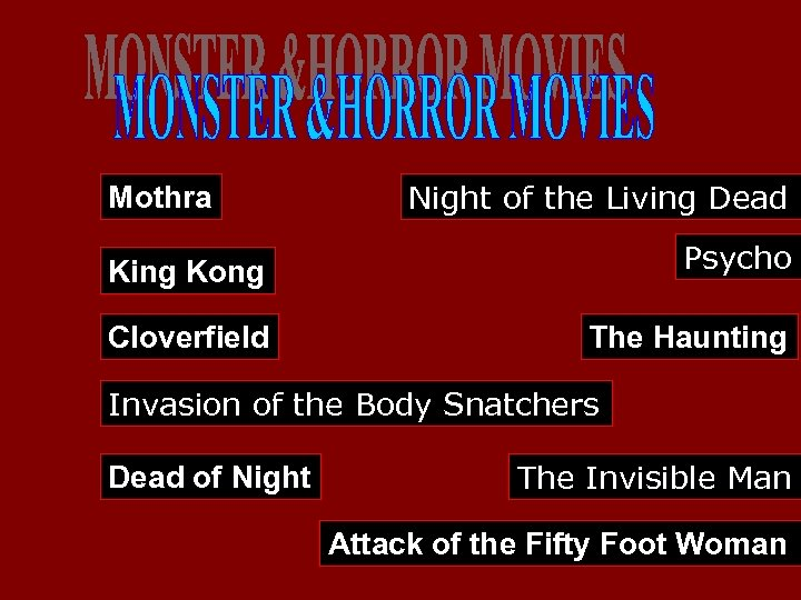 Mothra Night of the Living Dead King Kong Psycho Cloverfield The Haunting Invasion of