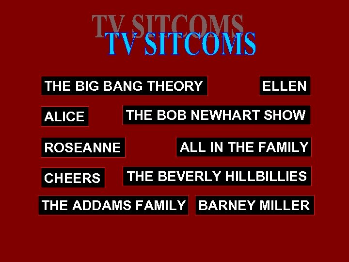 THE BIG BANG THEORY ALICE ROSEANNE CHEERS ELLEN THE BOB NEWHART SHOW ALL IN