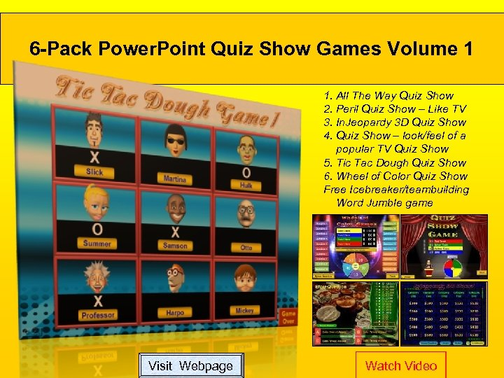 6 -Pack Power. Point Quiz Show Games Volume 1 1. All The Way Quiz